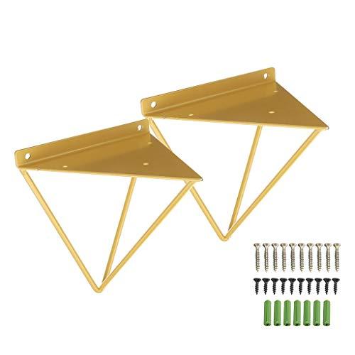 FKTVSTAND Goldenes Wandregal Halterung Bulkhead Brackets Wandregal montiert Bearing Support Hardware Fittings Dekorative-6.3in × 6.3in × 6.3in, 2er-Pack