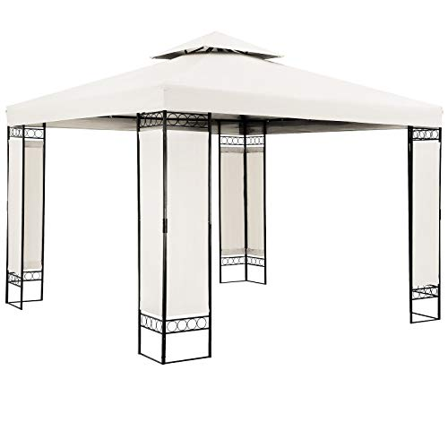 Pavillon Lorca 3x3m Creme Stabil Wasserabweisend Robust Metall Luxus Gartenpavillon Festzelt Partyzelt Gartenzelt Zelt