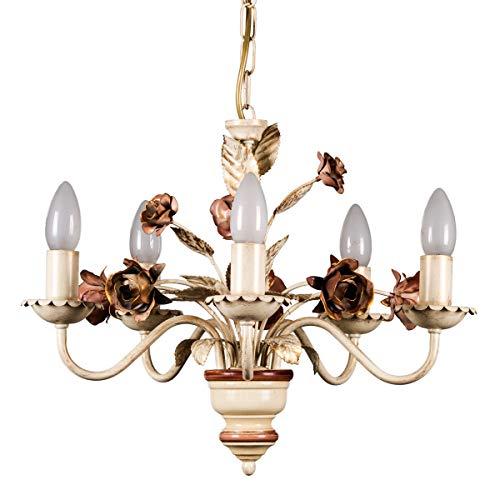 Helios Leuchten 203581 Florentiner Pendelleuchte Pendellampe | Blüten Hängelampe | Lampe Leuchte Kronleuchter Landhausstil | Deckenlampe 5 x E14