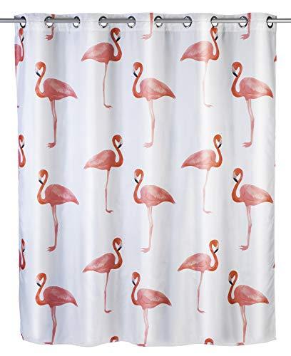 WENKO Anti-Schimmel Duschvorhang Flamingo Flex - Anti-Bakteriell, wasserabweisend, Textil, waschbar, schimmelresistent mit integrierter Hängeeinrichtung, Polyester, 180 x 200 cm, Mehrfarbig