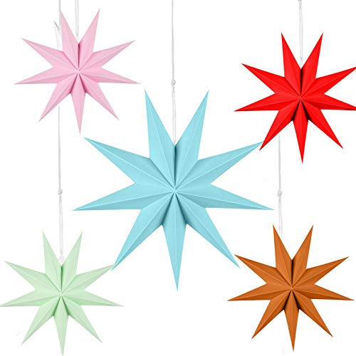 Mingbai Paper Star Decorations, 5 Pieces 3D 28 cm Large Paper Star Hanging Star, for Weddings, Christmas Holiday, Birthday Party Celebration & Home Decor (C)