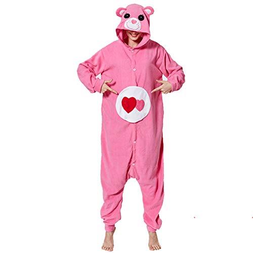 SLDAGe Pijamas Cosplay Animal,Unisex Adultos Dibujos Animados Amor Oso Onesie con Capucha Ropa De Dormir para Halloween Carnaval Disfraz Disfraz Loungewear,M