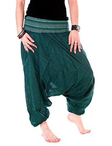 Vishes - Alternative Bekleidung - Baumwoll Haremshose mit gestreiftem Bund Dunkelgrün