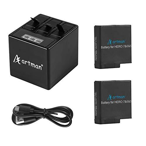 Baterías de Repuesto Artman GoPro Hero 5/6/7 1500mah (Paquete de 2) y Cargador USB LED de 3 Canales con Puerto Tipo C para GoPro Hero 5/6/7 Black, Hero 2018 (Totalmente Compatible con el Original)