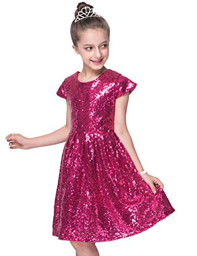 Shiny Toddler Little/Big Girls Shiny Sequins Birthday Party Dance Dress 4 to 5,Fuchsia