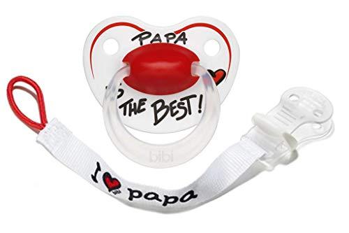 Bibi Baby Nuggi Schnuller + Schnullerband Papa is the Best