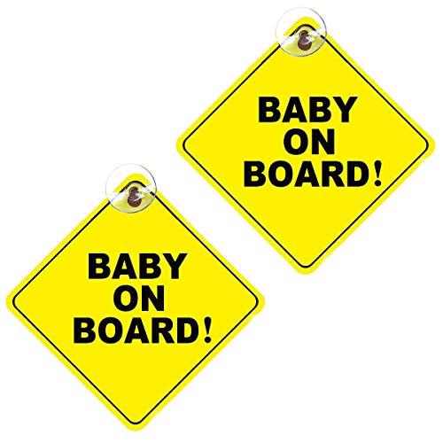 """Cartello per bambini con scritta """"Baby on Board"""", 2 pezzi, rimovibile per avvertire la sicurezza dei bambini, con ventose, per avvertire l'auto"""