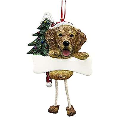 """Golden Retriever Ornament with Unique """"Dangling Legs"""" Hand Painted and Easily Personalized Christmas Ornament by E&S Imports, Inc"""
