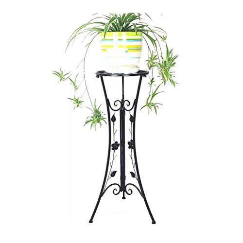 YBB-YB YankimX - Soporte plegable para plantas de metal, para sala de estar, balcón, jardín, patio, maceta, estante de hierba, bonsái, arte de hierro (negro)
