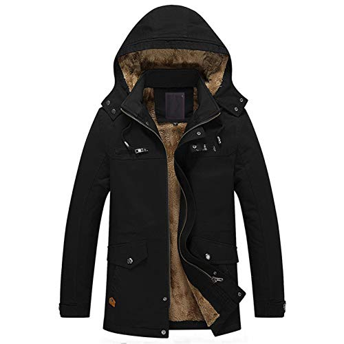 Autumn and Winter Men's Plus Velvet Washed Casual Jacket Mid-Length Long-Sleeved Windbreaker Jacket Black