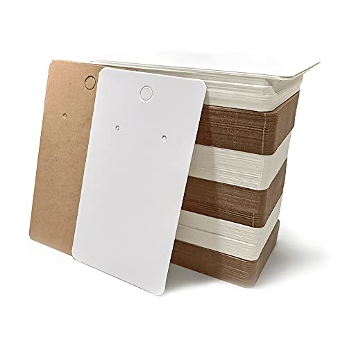 200 Piezas Etiquetas para Pendientes 89 * 49 mm Papel Kraft Tarjetas Exhibición de Joyería para Pendientes Aretes (Marrón y Blanco)
