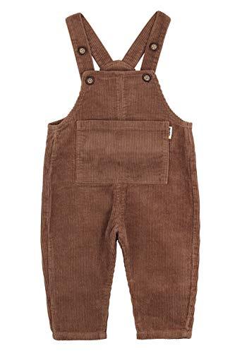 Camilife Baby Jungen Mädchen Kordsamt Latzhosen Overall Kord-Latzhose Cordhose Verdickt mit Fleece für Herbst Winter Vintage Retro - Braun Größe 85