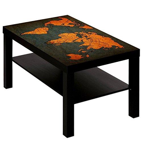 Couchtisch Tisch mit Motiv Bild Weltkarte Antik Farbe schwarz
