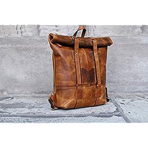 KALATING Personalisiert Herren Handgemacht Echtes Spitzenkornleder Leder Rucksack, Laptop Schulter, Büro Rucksack…