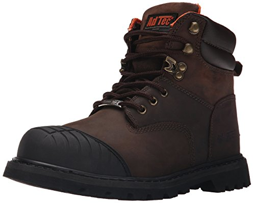 ADTEC Men's 6' Work Boots with Steel Toe, Slip Resistant, Leather, Construction Boots, Brown, 12 W US