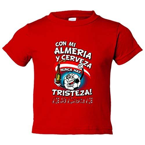 Camiseta niño frase con mi Almería y cerveza nunca hay tristeza fútbol - Rojo, 12-14 años