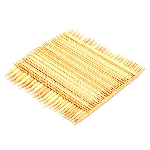 Pssopp 75 Piezas de Aguja de Tejer de bambú de Doble Punta, Kit de Agujas de Tejer de Doble Punta para Principiantes, Adultos, Profesionales, niños
