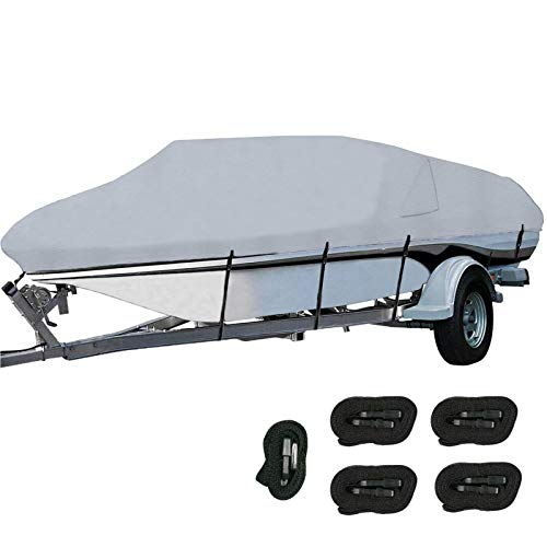 Orgrimmar 600D Boat Cover Heavy Duty Waterproof Trailerable Boat Cover with 2 Air Vents Fits V-Hull,Tri-Hull,Fishing Boat,Bass Boats,Pro-Style,Runabout (Gray, 17-19ft)