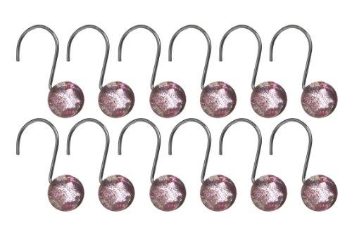 Premier Housewares Crochets de rideau de douche Résine 12 crochets Rose