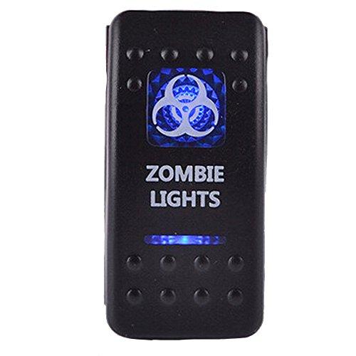 E Support™ 12V Auto KFZ Blau LED Lichtleiste Beleuchtet Wippenschalter Kippschalter Auto-Armaturenbrett Schalter Zombie Light