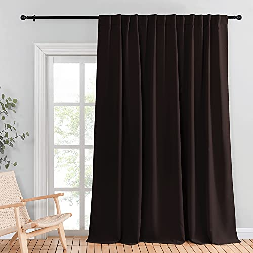 NICETOWN Wall Divider, Blackout Curtain for Sliding Glass Door - Insulated Window Covering for Dividing Space/Office, Decorative Light Sound Reducing Patio Door Blinds (Brown, W100 x L95, 1 Piece)