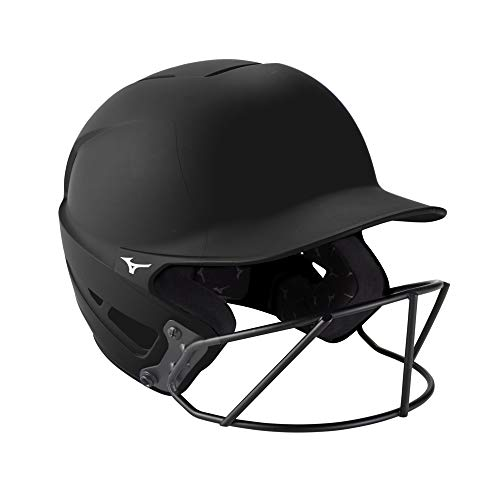 Mizuno F6 Adult Fastpitch Softball Batting Helmet with Mask, Black, Small/Medium