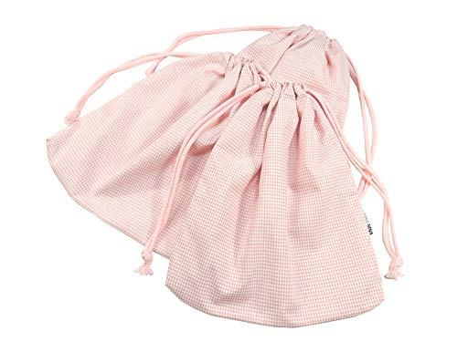 cottonNINA 巾着袋3枚セット 両絞りタイプ 横26×縦29cmサイズ KBW2629SET3 (ピンクギンガム)