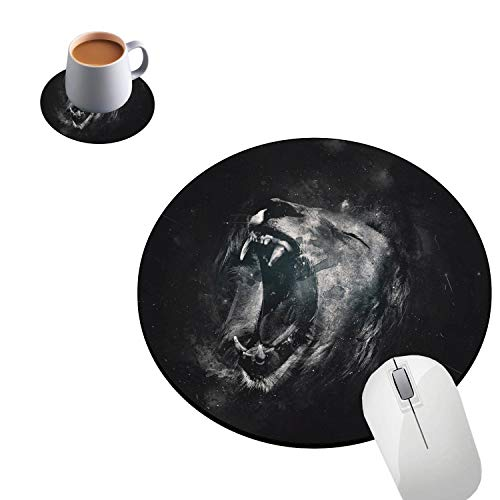 Round Mouse Pad and Coaster Cover, Roaring Tiger Mouse Pad, Non-Slip Rubber Bottom Round Gaming Mouse Pad, Size 7.9 x 7.9 x 0.08 Inches, Mouse Pad for Home Or Office
