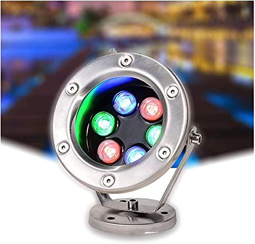 MWKLW Foco LED 12V Acero Inoxidable IP68 Impermeable Ajuste de ángulo Flexible Luz de Fuente Luz de Estanque de Peces Luz Colorida para paisajes, 7 Colores de luz 8 potencias