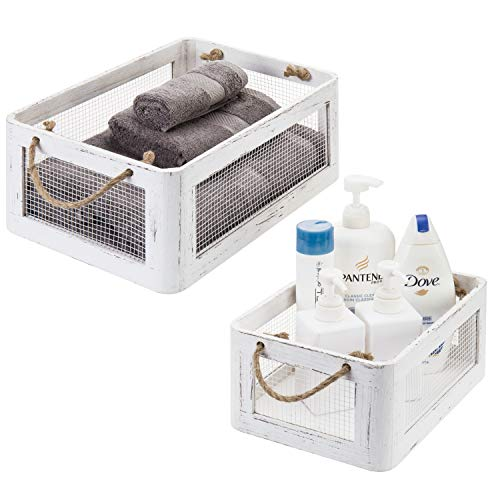 MyGift Vintage White Wood & Metal Wire Storage Crates with Rope Handles