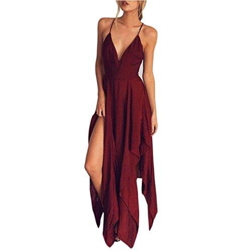 Kleid Damen Kolylong ® Frauen mit V-Ausschnitt Elegante Backless Lange Kleid Partykleid Strandkleid Abendkleid Sommerkleid (S, Rot)
