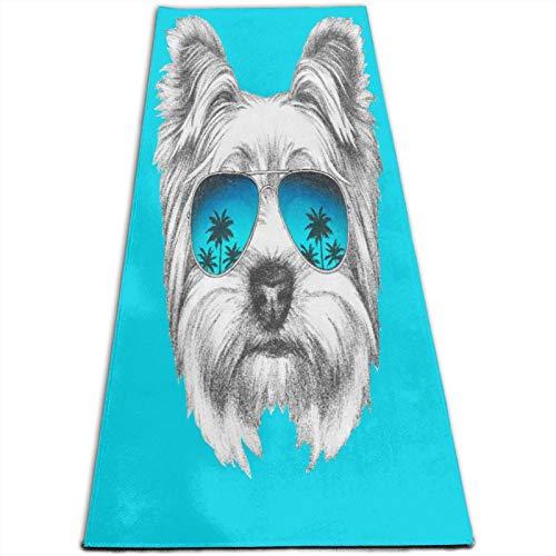 LOSUMIGE Esterilla Yoga Retrato de perro Yorkshire Terrier con gafas de sol de espejo Colchonetas de ejercicio Pilates para entrenamiento en casa Gimnasio Fitness Meditación Alfombra