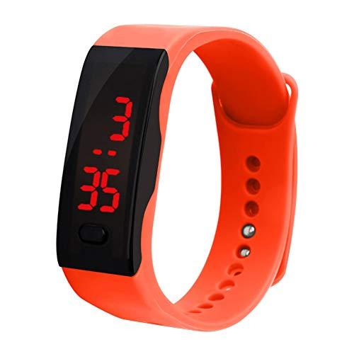 Verlike Kinder-Armbanduhr, Silikon, LED-Display, elektronisch, digital, Sportarmband, Orange