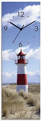 Artland Wanduhr ohne Tickgeräusche aus Glas Quarzuhr 20x60 cm Rechteckig Lautlos Strand Meer Leuchtturm Urlaub Sylt Maritim T9ML