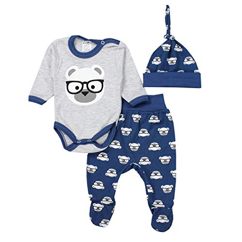TupTam Conjunto de Ropa Bebé Body, Polaina, Gorra, Oso con Gafas Gris/Azul Oscuro, 62
