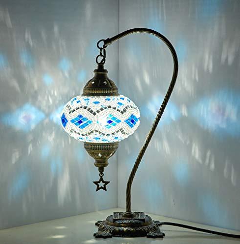 Demmex 2019 Turco Marroquí Mosaico Mesita Noche Tiffany Lámpara de noche para uso en Estados Unidos, Azul Blanco
