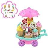 yoptote Carrello del Gelato Cibo Giocattolo Fai da Te Accessori Cucina Bambini Gioco di Ruolo per Bambini 3 4 5 Anni