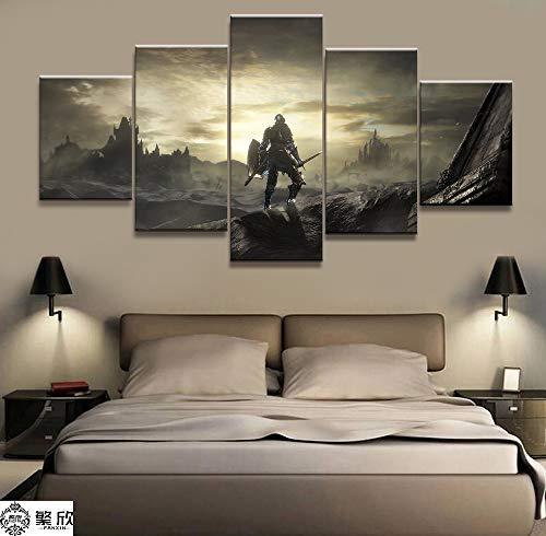 AMOHart Leinwanddrucke 5 Stücke Dark Souls Spiel Schwertkämpfer Malerei Wohnzimmer Spiel Poster Wand Kunstwerke Drucke auf Leinwand Rahmen