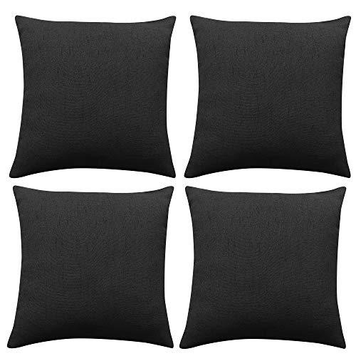 Deconovo Funda cojin de Lino para Salón 4 Piezas 50x50cm Negro