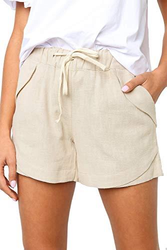 GOLDPKF Workout Drawstring - Pantalones cortos de verano para mujer, talla grande, algodón, con bolsillos beige 40