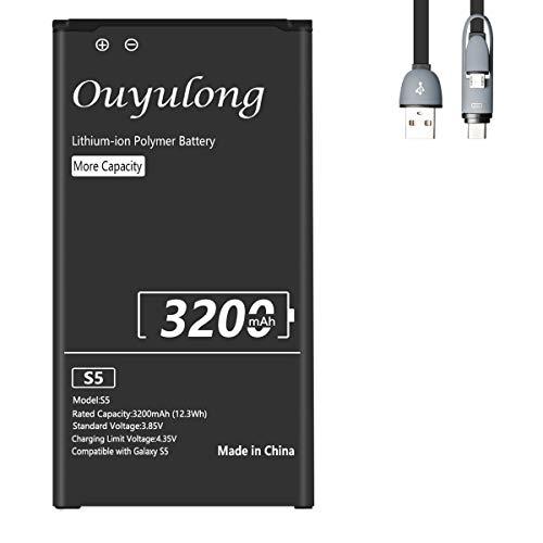 Akku für Samsung Galaxy S5 Mit NFC| Ouyulong 3200mAh Lithium-Ionen-Akku für Samsung Galaxy S5 |Lithium-Ionen-Akku der Modelle Galaxy S5 SM-G900F | Galaxy S5 I9600 | SM-G900A | SM-G900FD|Mit Datenkabel