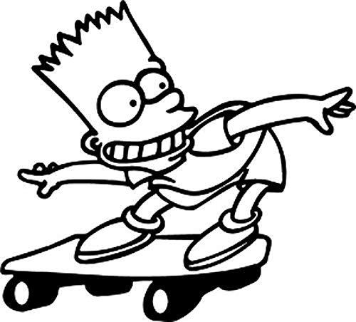 PotteLove Bart Simpson Skateboarding Decal Vinyl Sticker Decorative for Laptop Fridge Guitar Car Motorcycle Helmet Luggage Cases Decor 4 Inch in Width