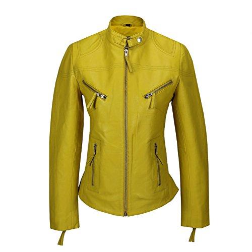 Chaqueta de cuero amarilla entallada para mujer