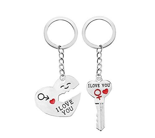 Kentop Porte-clés Paire de Porte Clés Couple Porte-clés Doux Coeur et clé Pour Petit Ami De La Saint-Valentin Cadeau Anniversaire D'anniversaire