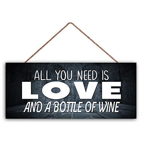Ced454sy alles wat je nodig hebt is liefde en een fles wijn huisdecoratie familie teken inspirerende hout teken beste cadeau