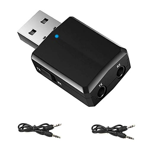 EasyULT Adattatore Bluetooth USB 3 in 1, USB Adattatore Bluetooth 5.0 Trasmettitore Ricevitore con 3.5mm AUX Wireless Audio Bluetooth, per TV PC Altoparlanti Auto (Nero)