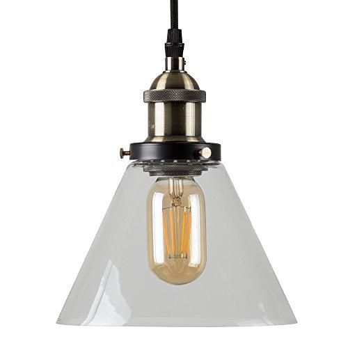Lámpara colgante de techo con efecto steampunk y cristal transparente, diseño vintage, color negro y dorado