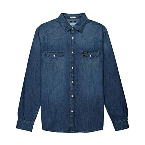 Wrangler LS Western Shirt Camisa Vaquera, Rojo (Red Flame 50b), Medium para Hombre