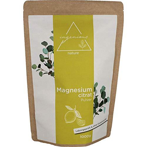 ingenious nature® Laborgeprüftes Magnesiumcitrat Pulver 1kg - Magnesium-Pulver ohne Zusätze, vegan - mit Messlöffel und Zertifikat