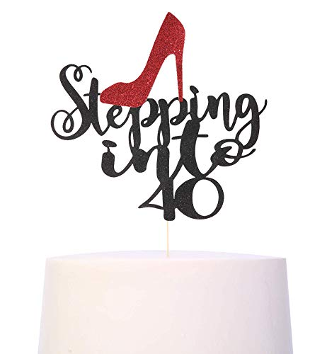 Black Glitter 40th Birthday Cake Topper - Stepping Into 40 Birthday Cake Topper,40th Birthday Cake Decorations For Women, Happy 40th Birthday Party Supplies (40th birthday cake topper)
